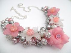 Pink White and Silver Gray Beaded Necklace with by KIMMSMITH