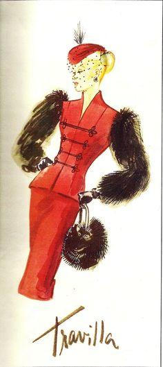William Travilla - Costumes - Esquisses et Croquis - Veste à Manches en Fourrure - Couture