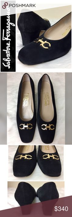 """Salvatore Ferragamo Signature Gold Gancini Heels Salvatore Ferragamo Signature Gold Gancini Heels in Elegant Black Suede Leather with Gold Tone Hardware, Made in Italy 🇮🇹, Size 8 Tag with 1 7/8"""" Heel, Used in Excellent Condition Salvatore Ferragamo Shoes Heels"""