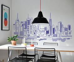 foto Skyline New York 4 Wall Painting Decor, Mural Wall Art, Wall Decor, Wall Art Designs, Wall Design, House Design, Interior Architecture, Interior And Exterior, Interior Design
