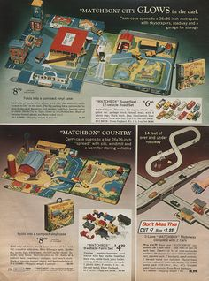 Matchbox Car Playsets in Sears Christmas Wish Book Catalog, 1971, via Flickr. I had the country playset on the bottom left.