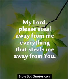 ✞ ✟ BibleGodQuotes.com ✟ ✞  My Lord, please steal away from me everything that steals me away from You.