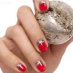 Essie glitter half moon manicure