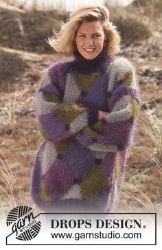 Purple Diamonds / DROPS 36-13 - DROPS Sweater i Vienna med harlekin-mønster