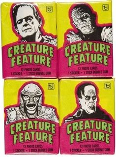 Topps 'Creature Feature' bubble gum cards featuring Frankenstein's Monster, The Mummy, The Creature from the Black Lagoon and The Phantom of the Opera.