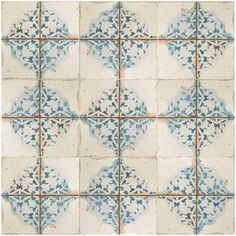 "Royalty 17.75"" x 17.75"" Ceramic Field Tile in Blue/Yellow   AllModern"