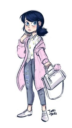 toriitorii: Wanted to draw this cute outfit, thought it was perfect for Mari. Ladybug E Catnoir, Ladybug Und Cat Noir, Ladybug Comics, Lady Bug, Anime Miraculous Ladybug, Tori Tori, Catty Noir, Super Cat, Marinette And Adrien
