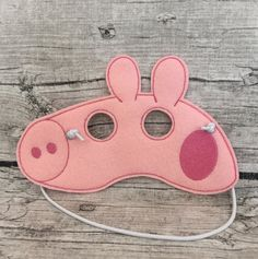 Peppa Pig Inspired Mask by MMEmbroideredGifts on Etsy