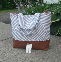 Gray stripes diaper bag Large gray and coral diaper by JessieBlume