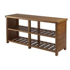 Winsome Trading Keystone Shoe Storage Bench in Teak - BedBathandBeyond.com