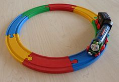Brio wooden train tracks colored from woodpeckers.ch #decoartprojects