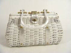 $32.22 vintage 50s White Woven Vinyl Wicker Rattan Purse Handbag with Pearlescent Plastic Lucite Handles and Gold Turn Clasp made in Hong Kong by wardrobetheglobe on Etsy