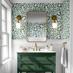 Spotted Wallpaper, Leopard Wallpaper, Funky Wallpaper, Green Wallpaper, Hello Wallpaper, Office Wallpaper, Wallpaper Decor, Print Wallpaper, Half Bathroom Wallpaper