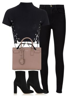 A fashion look from December 2016 featuring Glamorous tops, Frame jeans and Gianvito Rossi ankle booties. Browse and shop related looks. Cute Casual Outfits, Stylish Outfits, Fall Outfits, Pastel Outfit, Teen Fashion, Fashion Outfits, Womens Fashion, Fashion Trends, Look Girl
