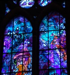 Chagall right stained glass panel Stained Glass Church, Modern Stained Glass, Stained Glass Art, Stained Glass Windows, Cathedral Windows, Church Windows, Chagall Windows, Chagall Paintings, Kind Of Blue