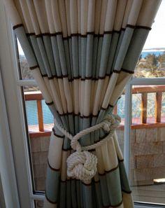 Nautical Knot Curtain Tiebacks Seaside Style White Monkey Fist Set of 2