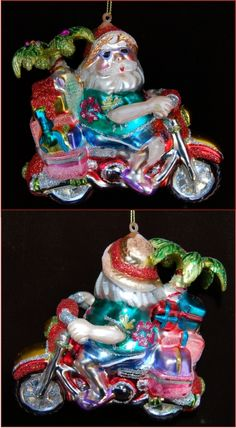 Beachbound Santa Motorcycle Personalized Christmas Ornament