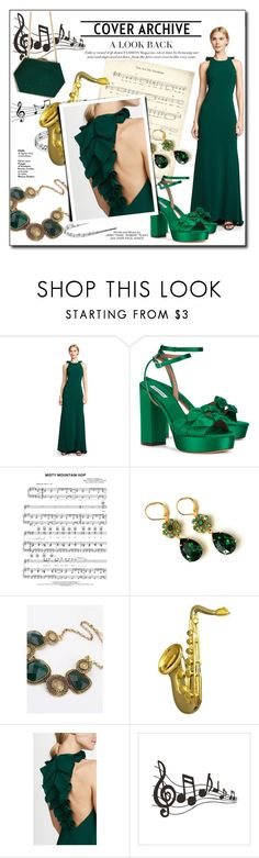 """""""Emerald Green Music Concert"""" by atikazahra on Polyvore featuring Badgley Mischka, Tabitha Simmons, Kiki Belle, Yves Saint Laurent, concert, music, gown and emeraldgreen"""