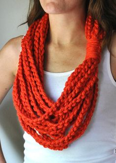 The tangerine color of this chain necklace / scarf / neck warmer is amazing! Each chain is secured at one spot with my signature knot, so you can wear it