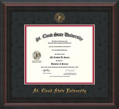 St. Cloud University Diploma frame with premium hardwood moulding and official St. Cloud seal and name embossing - black suede on red mat. A great graduation gift!