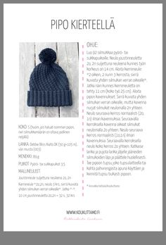 Pipo kierteellä Knitting Projects, Knitting Patterns, Crochet Patterns, Crochet Chart, Knit Or Crochet, Make Up Brush, Knitting Accessories, Handicraft, Diy Clothes
