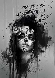 Bildergebnis für santa muerte tattoos black and white Sugar Skull Tattoos, Leg Tattoos, Black Tattoos, Body Art Tattoos, Girl Tattoos, Sleeve Tattoos, Sugar Tattoo, Tatoos, Sugar Skulls