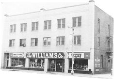Williams Co. Building - This imposing three-story brick structure was designed and built by Oliver S. Compton for the Independent Order of Odd Fellows, Lodge #103, as evidenced by the 1927 cornerstone at the building's northwest corner. Designed from the start as a profit-making venture, the building was used as meeting and activity space for the Odd Fellows. Lodge members reserved the second floor for their exclusive use while leasing out the first floor for office and retail space.