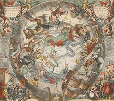 Pair Vintage Latin Zodiac Astrological Map