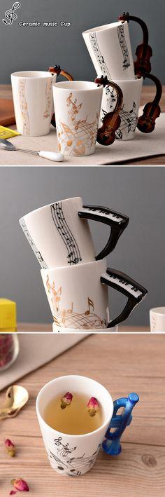 US$10.36 Novelty Guitar Ceramic Cup Music Note Milk Juice Lemon Mug Coffee Tea Cup Home Office Drinkware