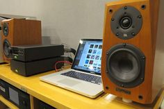 Audiophile Workstation. Apple MacbookPro - Naim Audio DAC-V1 & NAP-100 - Focus Audio FC6 SE Loudspeakers - High End USB Cable