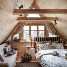 The Best 50 Log Cabin Interior Design Ideas they are carefully selected and cut in the build order in which they will be laid down to form the home. A Frame Cabin, A Frame House, Attic Bedrooms, Bedroom Loft, Log Cabin Bedrooms, Jungle Bedroom, Queen Bedroom, Cabin Homes, Log Homes