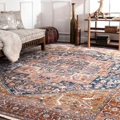 nuLOOM Traditional Fancy Medallion Border Rust Rug (8' x 10') - Free Shipping Today - Overstock.com - 21580857
