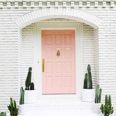 pink door, pineapple door knocker, cactus !