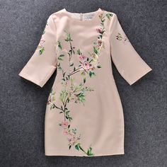 Flower Print Three Quater Sleeve Bodycone Midi Dress [grxjy560998]