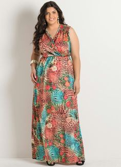 Vestido Longo Estampa Animal Print Plus Size - Posthaus