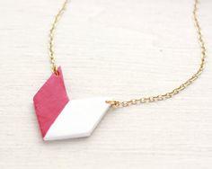 Geometric Chevron Split Triangle Necklace Red/White