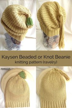 Kaysen Beaded or Knot Beanie - sparkly with beads and sequins or an elegant knot. Uses just 1 skein of yarn! Beanie Pattern, Bose, Anklets, Ravelry, Knots, Knitting Patterns, Wraps, Crochet Hats, Sequins
