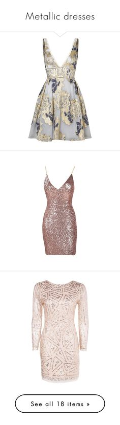 """Metallic dresses"" by elhemma ❤ liked on Polyvore featuring dresses, floral pattern dress, botanical dress, white floral print dress, metallic dress, flower design dresses, brown cocktail dress, short dresses, crop dress and brown sequin dress"