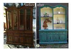How To Turn A Traditional Hutch Into A Southwestern Storage Cabinet! http://funcycled.com/projects/from-hutch-to-southwestern-storage-cabinet-tuesdays-treasures/  #funcycled #furnituredesign #interiors