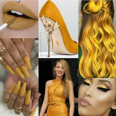 Evreything is yellow💛💛 Color Collage, Fashion Collage, Shades Of Yellow, Just Amazing, Girly Things, Random Things, Get Dressed, Color Combinations, Hair Makeup