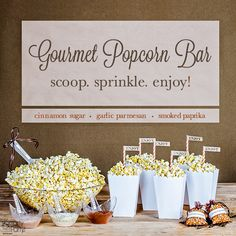 This may be one of our favorite fall wedding or party ideas. Introducing the Gourmet Popcorn Bar! | SmartyHadAParty.com