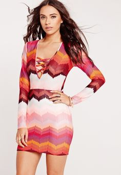 Missguided - Geometric V-Neck Long Sleeve Bodycon Dress Multi