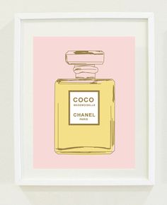 "Print: 8 ""X 10"" Coco Chanel Perfume Bottle Print, Office wall art, Bedroom wall art, mother's day gift idea"
