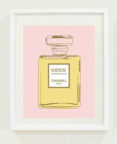 "Print: 8 ""X 10"" Coco Chanel Perfume Bottle Print, Office wall art, Bedroom wall art"
