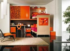 15 Cozy and Vibrant Peach and Orange Teenage Bedrooms with Study Tables