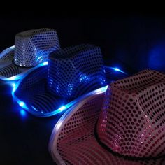 6 LED Assorted Color Cowboy Hats for party and festival