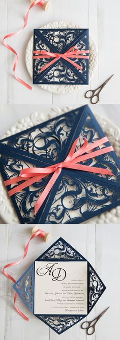 navy blue and coral wedding colors inspired elegant laser cut wedding invitation swws029 #stylishweddinginvitations