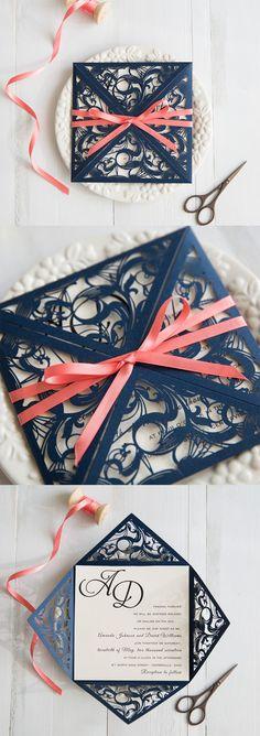 navy blue and coral wedding colors inspired elegant laser cut wedding invitation swws029 #stylishweddinginvitations