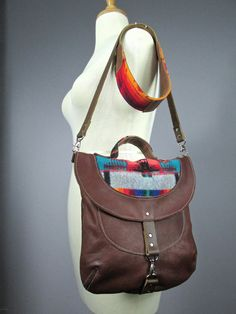 Leather crossbody bag with Pendleton wool details , iPad Messenger Bag, Travel Bag, Pure Wool