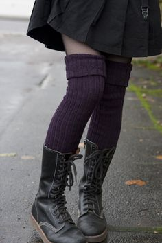 I love boots and stockings. These would be fun to make myself. Violet Cronert Ribbed Wool Over-The-Knee Socks Knee Socks, High Socks, Colorful Socks, Autumn Winter Fashion, Winter Style, Fall Winter, Alternative Fashion, My Wardrobe, Boho